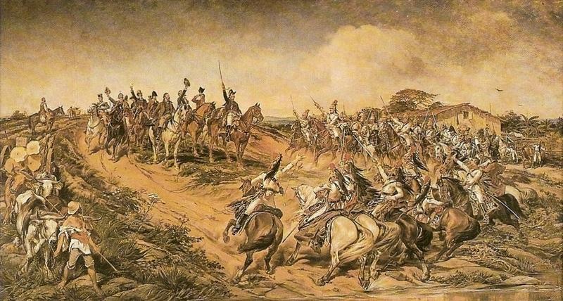 Pedro Américo - Independência ou Morte. Por não dizer quase nada sobre o que foi o processo de Independência, esta imagem diz muito sobre o que pretendiam os que escreveram essa história