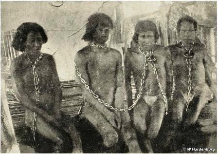 """O Corpo de Trabalhadores do Pará, criado em 1838, foi um exemplo de """"reativo violento"""" usado no Brasil. Já no texto da lei a inciativa se justificava como solução para os """"vadios"""" – quase sempre indígenas, que viviam do que produziam ou obtinham na floresta. Com essa legislação, em vigor até pelo menos a década de 1870, o Estado podia sequestrar pessoas para o trabalho forçado e conceder sua exploração a particulares. A Cabanagem (1835-1838) havia sido, em boa parte, uma reação a tentativas de efetivar este tipo de exploração. O Corpo de Trabalhadores nunca foi chamado de violento da forma como os cabanos que reagiam a isso foram."""